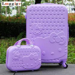 Mujeres Hello Kitty del viaje del equipaje maleta bolsa set, niños de la historieta caja universal de la rueda luz púrpura carro ABS