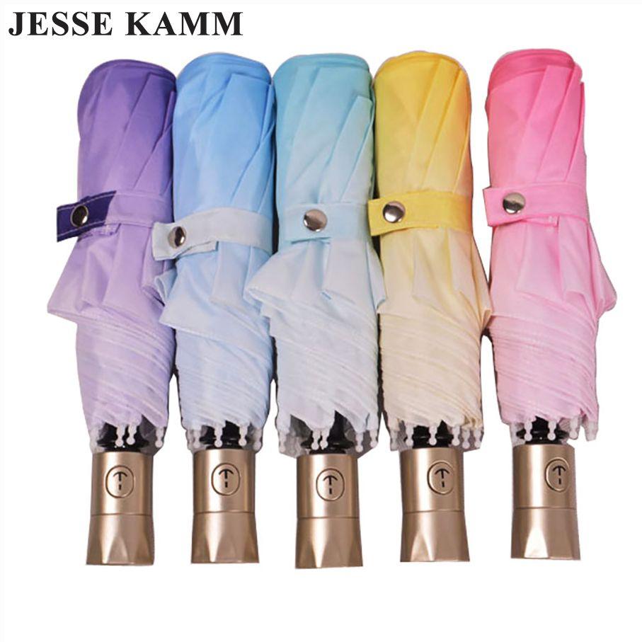 Полностью автоматический зонт градиент цвета зонтик складной солнцезащитный крем зонтик anti-уф-защита женский автоматический зонт