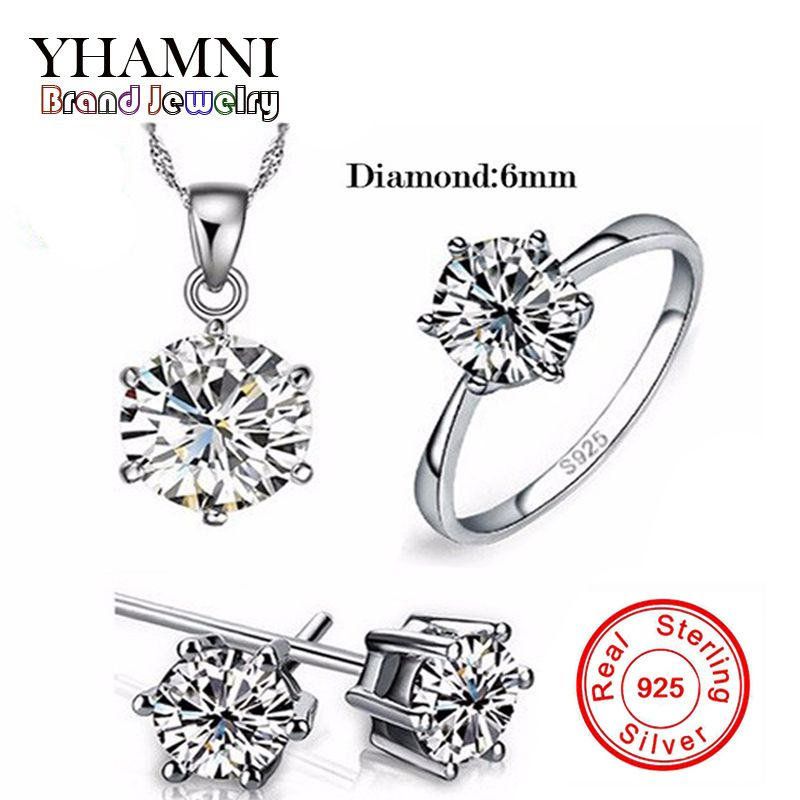Luxury Brand 100% Real 925 Sterling Silver Jewelry Sets Luxury CZ Diamant Wedding Engagement Bridal Sets For Women African YS052