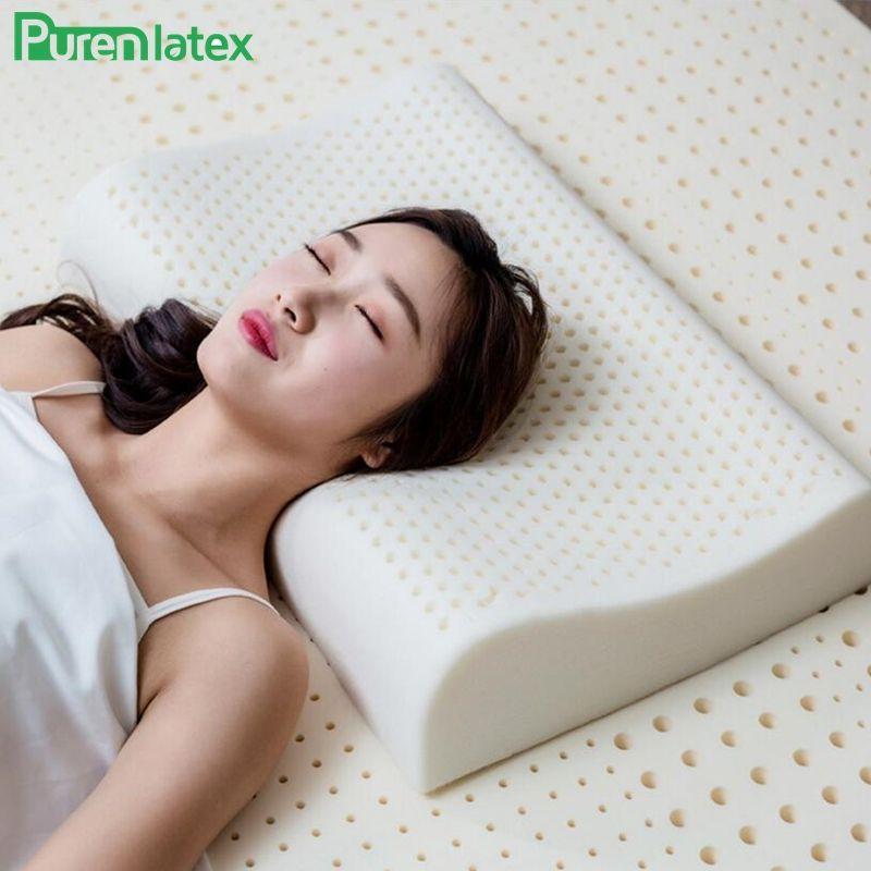 PurenLatex 60x40 thaïlande pur Latex naturel oreiller de soins de santé cou pour cou colonne vertébrale protecteur Latex oreiller orthopédique oreiller