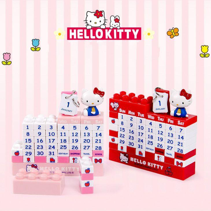 Bricolage Hello Kitty calendrier 2020 Totoro Jingle chats blocs de construction calendrier enfants chambre décoration de la maison accessoires bureau calendrier