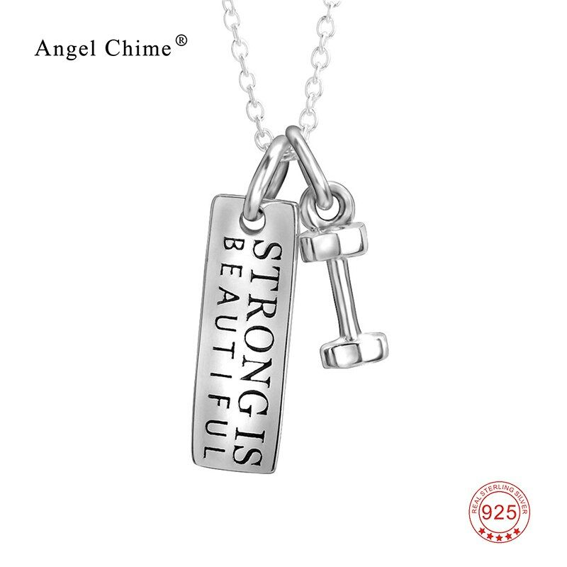 Strong Is Beautiful 925 Sterling Silver Pendant Choker Necklaces Fitness Jewelry Silver Tag and Dumbbell Two Tone For Women Men