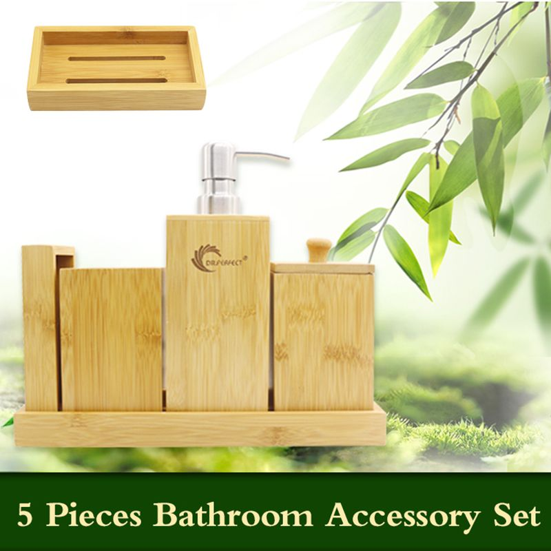 DR.PERFECT Bamboo Bathroom Accessories Set Bamboo Refillable Bottles, Lotion Dispenser ,Soap Plate ,Toothbrush Holder
