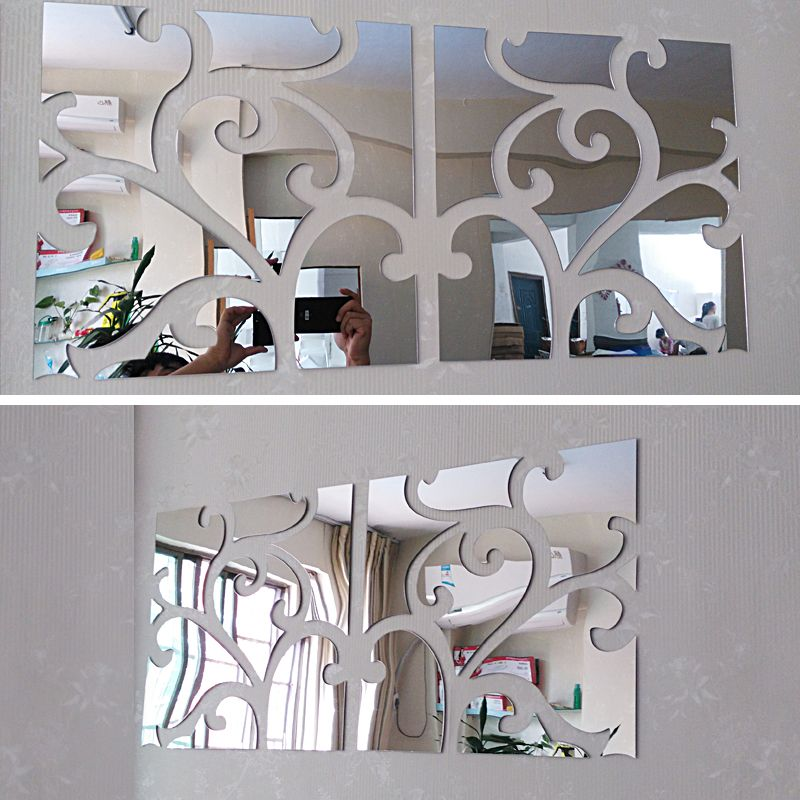 2017 chaude gros 3d stickers muraux décoratifs maison vivante moderne acrylique grand miroir nature morte surface mode bricolage mur autocollant