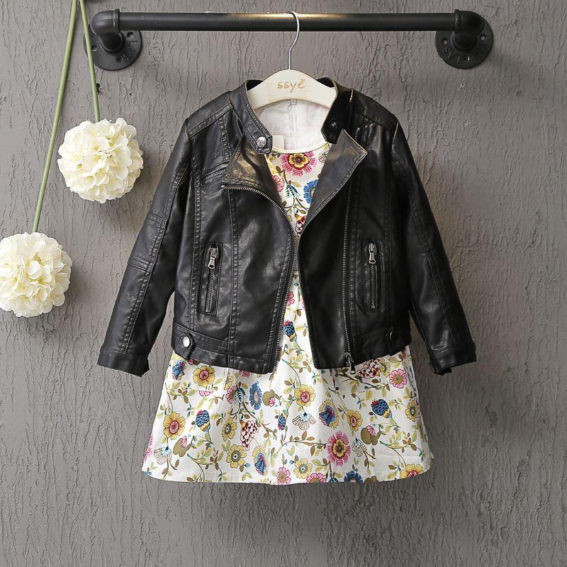 DFXD 2017 Fashion Spring Baby Girls&Boys Leather Jacket Korean Children Clothes Baby Black Zipper Cardigan Coat Kids Outwear