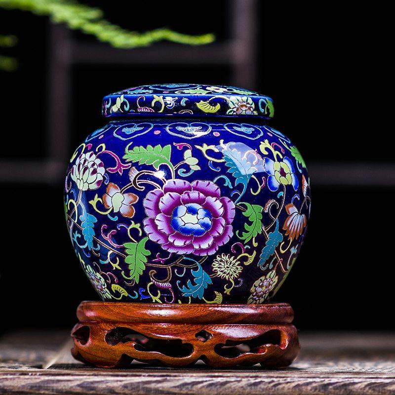 Jingdezhen Antiken Emaille Keramik Große Tee Glas Teedose Kanister Tragbare Reise Lagerung Flaschen Verschlossen Tank Jar Lebensmittel Bonbonglas