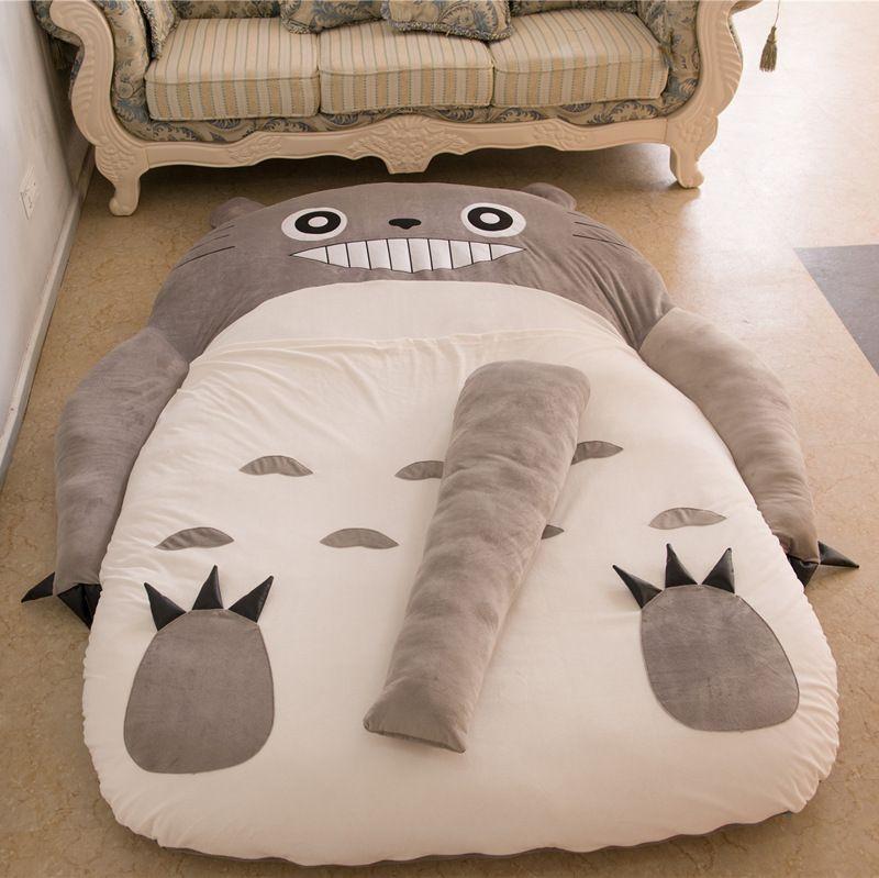 Colchones sofá sofá cama plegable colchón Totoro Lindo de la Historieta Bolsas de Dormir saco de dormir de peluche perezoso Colchón Cubierta