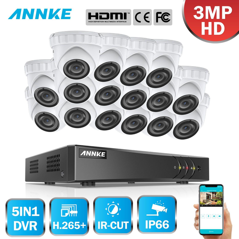 ANNKE 16CH HD 3MP CCTV System 5IN1 DVR 16 PCS TVI Sicherheit Dome Kamera Im Freien Wetterfeste PIR Erkennung Bewegung video Kit