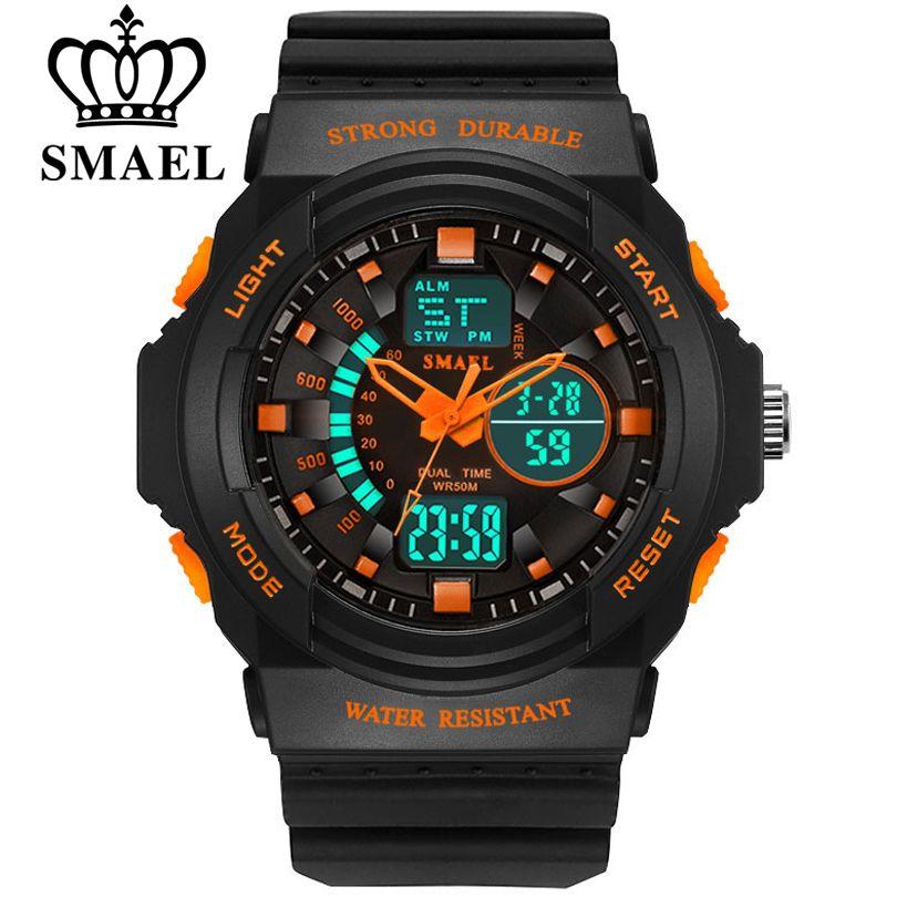 SMAEL Männer & Frauen LED Quartz Dual Display Sport Uhren Student Im Freien Uhr Männlichen Mode Weiblichen Elektronische Armbanduhr S L größe