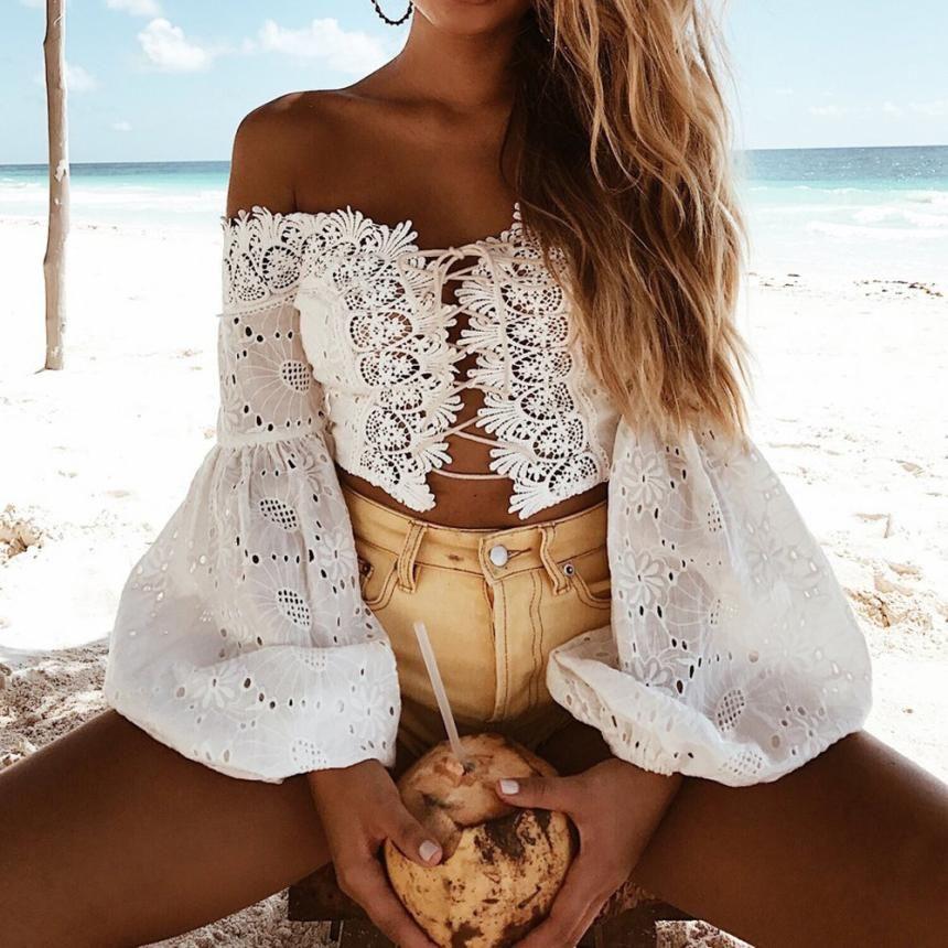 Femmes couverture en dentelle slash cou dos nu chemise hors de l'épaule t-shirt solide à manches longues évasées à volants Crop hauts en mousseline de soie blusas