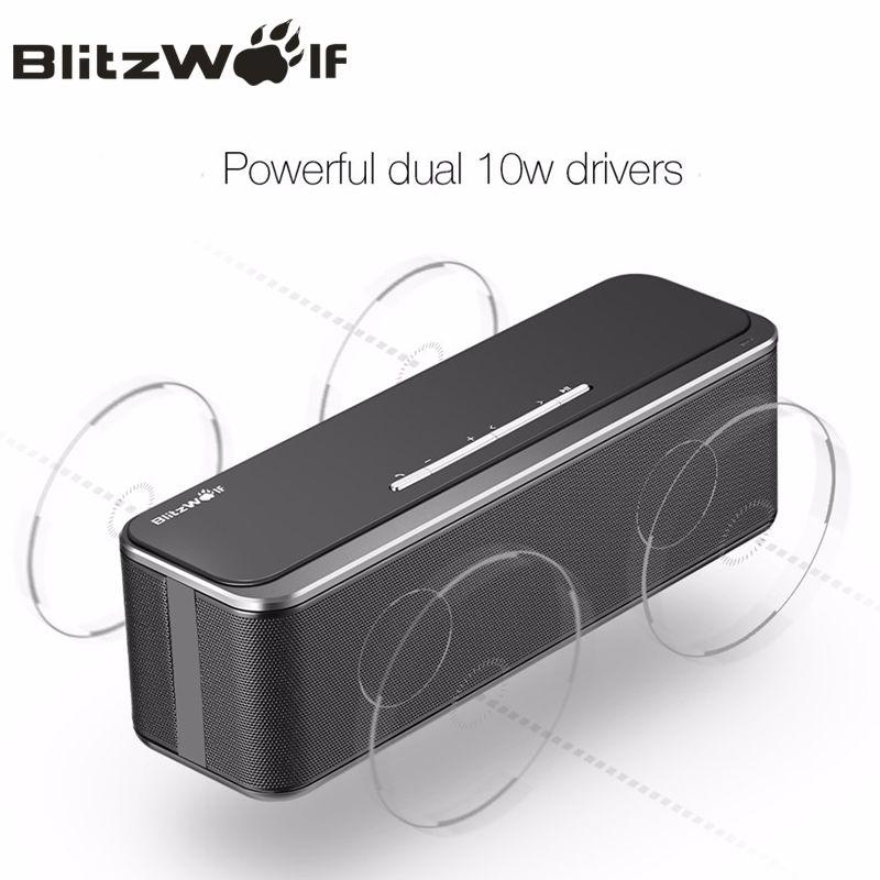 BlitzWolf 20 W double 10 W Mini sans fil bluetooth haut-parleur Portable stéréo barre de son avec Microphone pour iPhone téléphone Portable PC musique