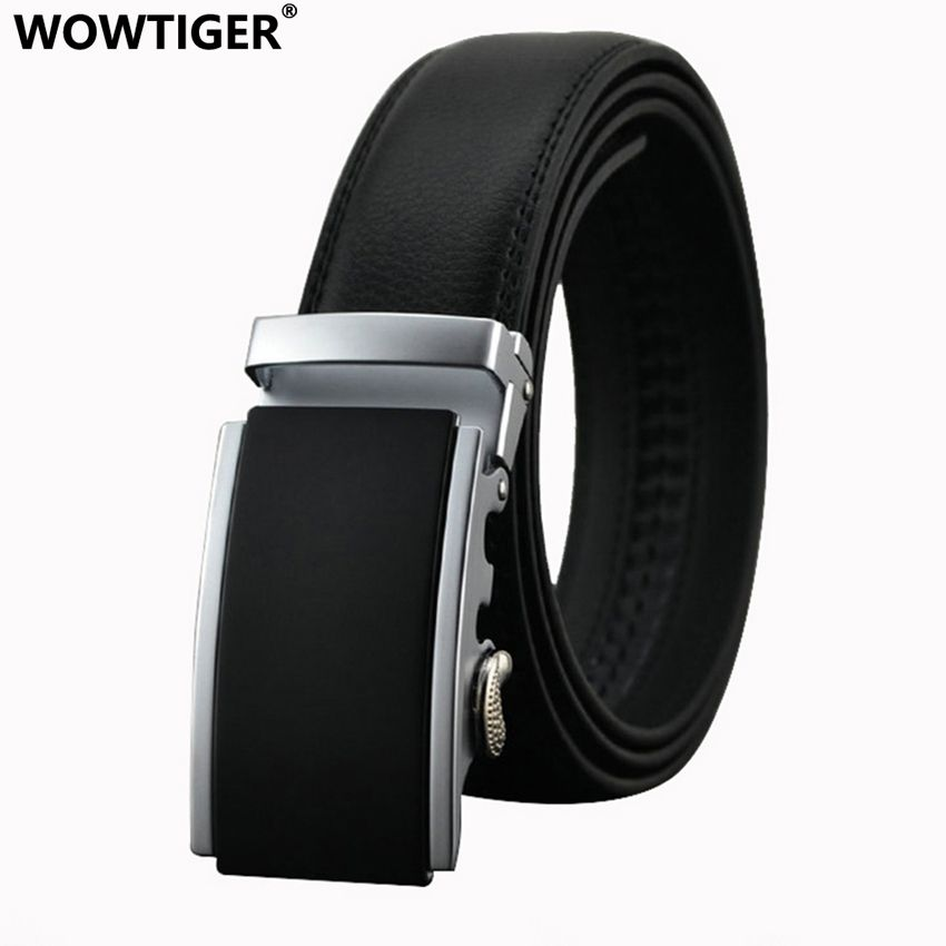 WOWTIGER Belt New Male Designer <font><b>Automatic</b></font> Buckle Cowhide Leather men belt 110cm-130cm Luxury belts for men Ceinture Homme