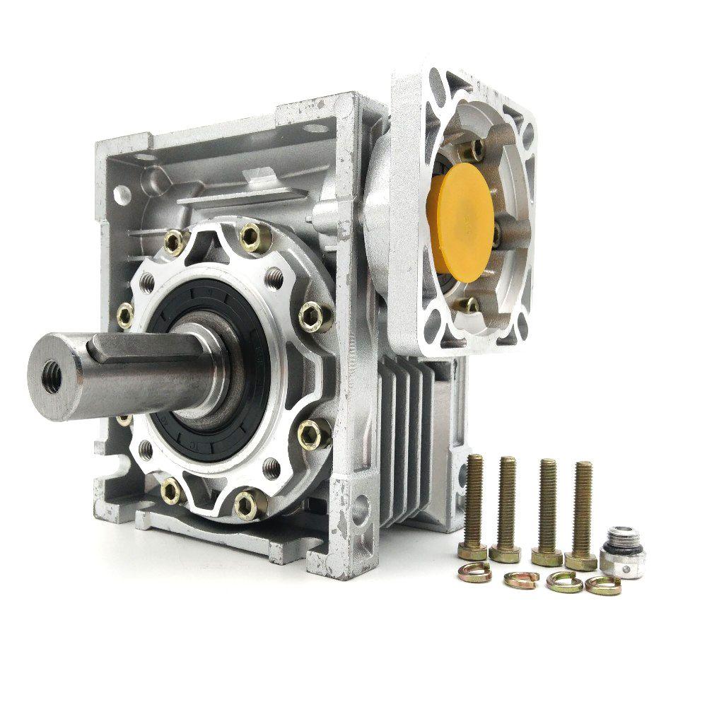 NMRV050 30: 1 Schneckengetriebe 14mm 19mm Eingangswelle 90 Grad Schneckengetriebeuntersetzungsgetriebe NEMA42 für Servo Motor Schrittmotor