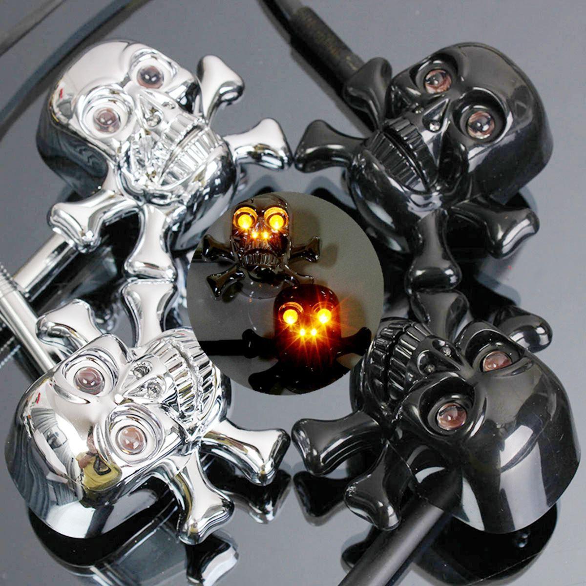 2PCS Universal 12V Black Chrome Motorcycle Skull Turn Signal Indicator Light Amber
