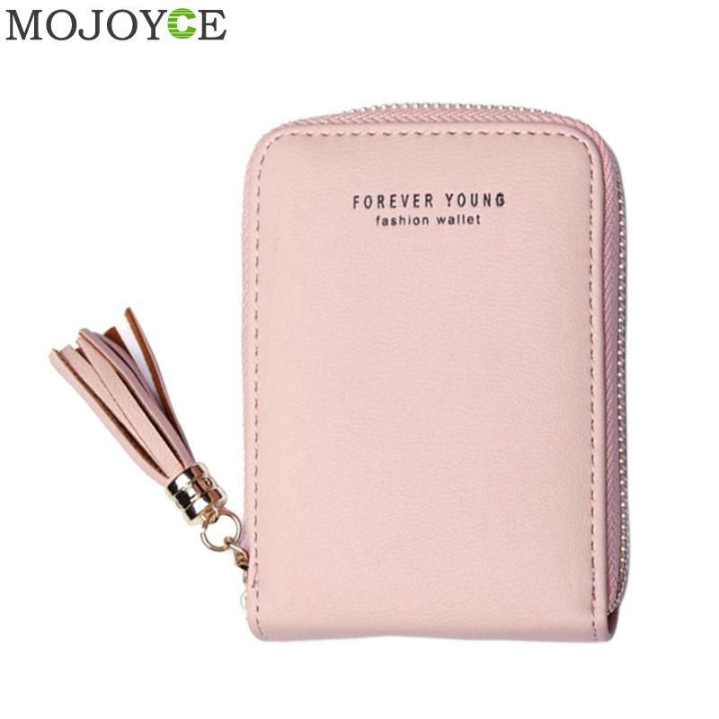 Korean Women PU Leather Card Holder Purse Tassel Pendant Short Card Holder Wallets Zipper Purse Coin Pocket Small Card Holders