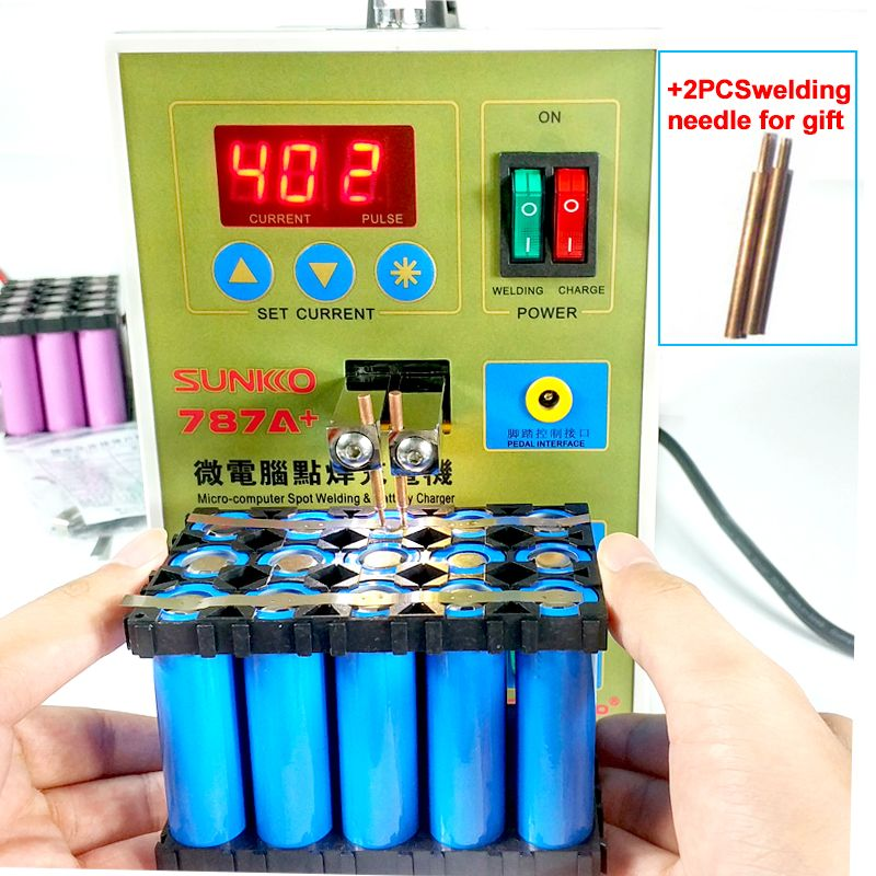 SUNKKO 787A+ spot welding <font><b>Lithium</b></font> battery spot welder 18650 battery Micro battery welding machine pulse with LED light 220V weld