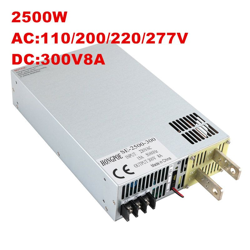 2500W 300V Power Supply 300V Output Voltage Current Adjustable AC-DC 0-5V Analog Signal Control DC300V 8.3A SE-2500-300