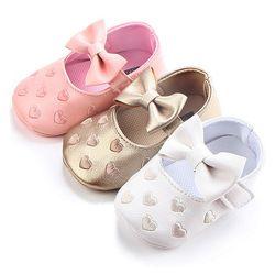 Grand arc broderie amour pu en cuir bébé fille chaussures antidérapant doux semelles chaussures pour nouveau-né berceau chaussures enfant en bas âge filles chaussures
