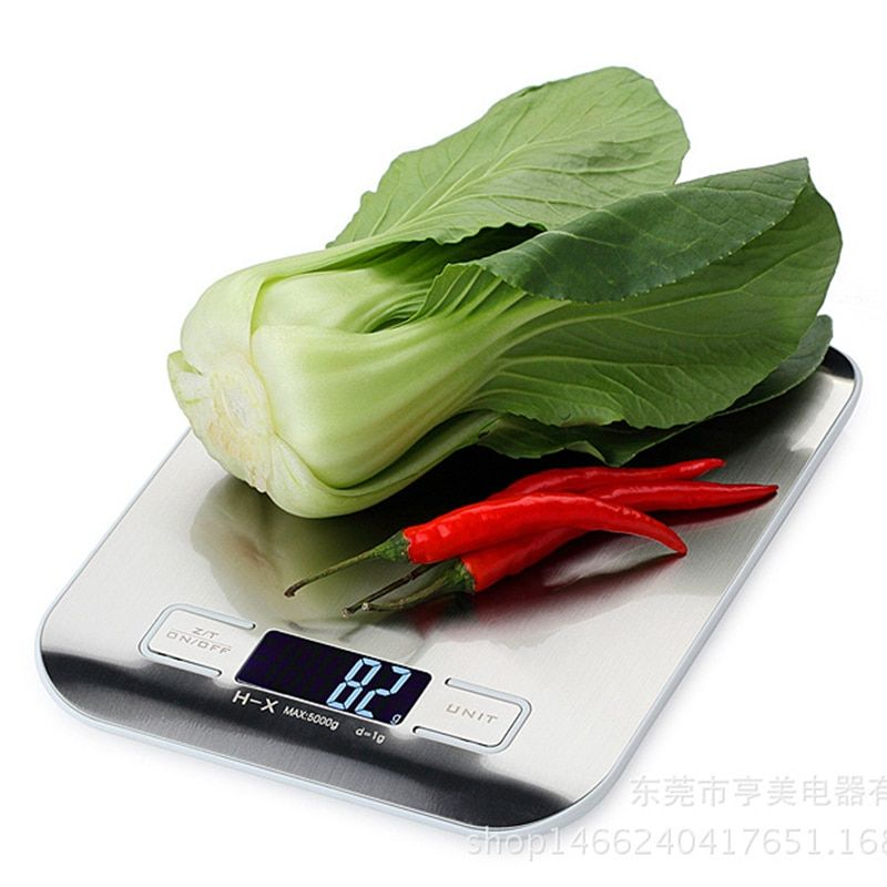 5KG Digital Kitchen Scale 5kg 1g Eletronic Stainless Steel Weight Balance for Food Diet Fruit Weighting Tool Scales LCD