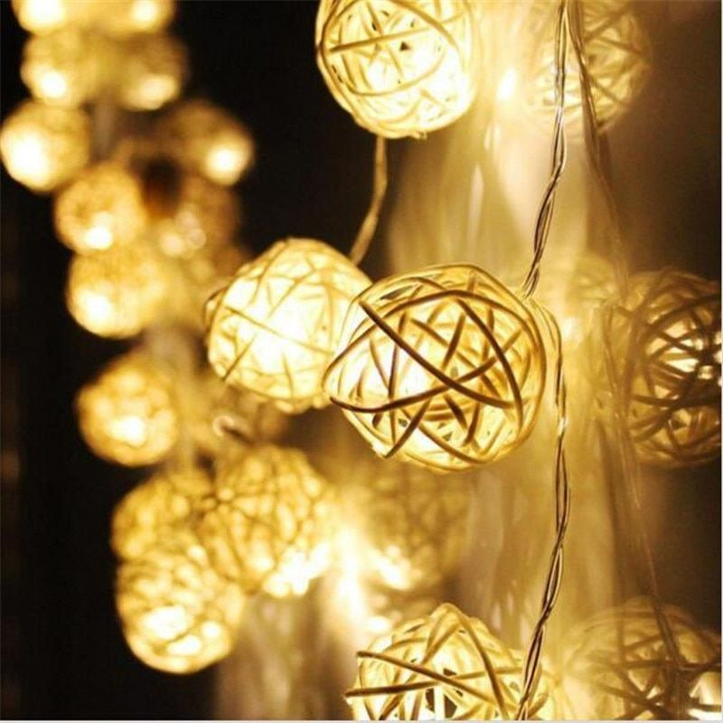 3M length, 20pcs Ivory White/ Red Handmade Rattan Balls String Lights Fairy Party Home Wedding Patio Decor battery Powered