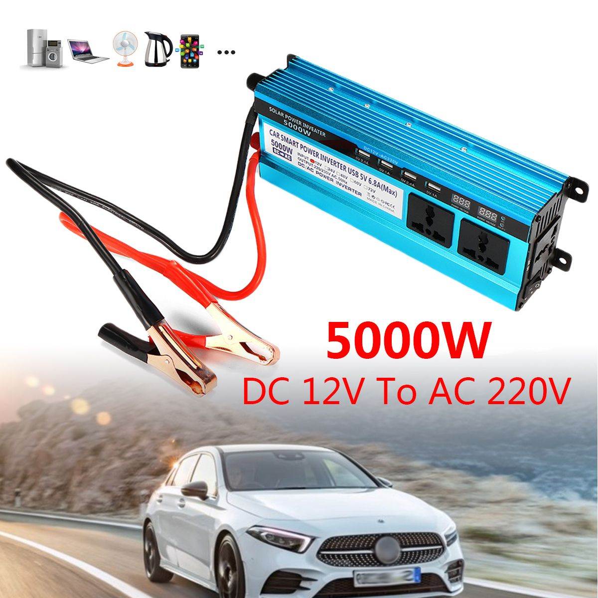5000W Peaks 12V/24V DC to 220VAC Solar Power Inverter Dual LED Screens Modified Sine Wave Converter Overload Protection Cool Fan