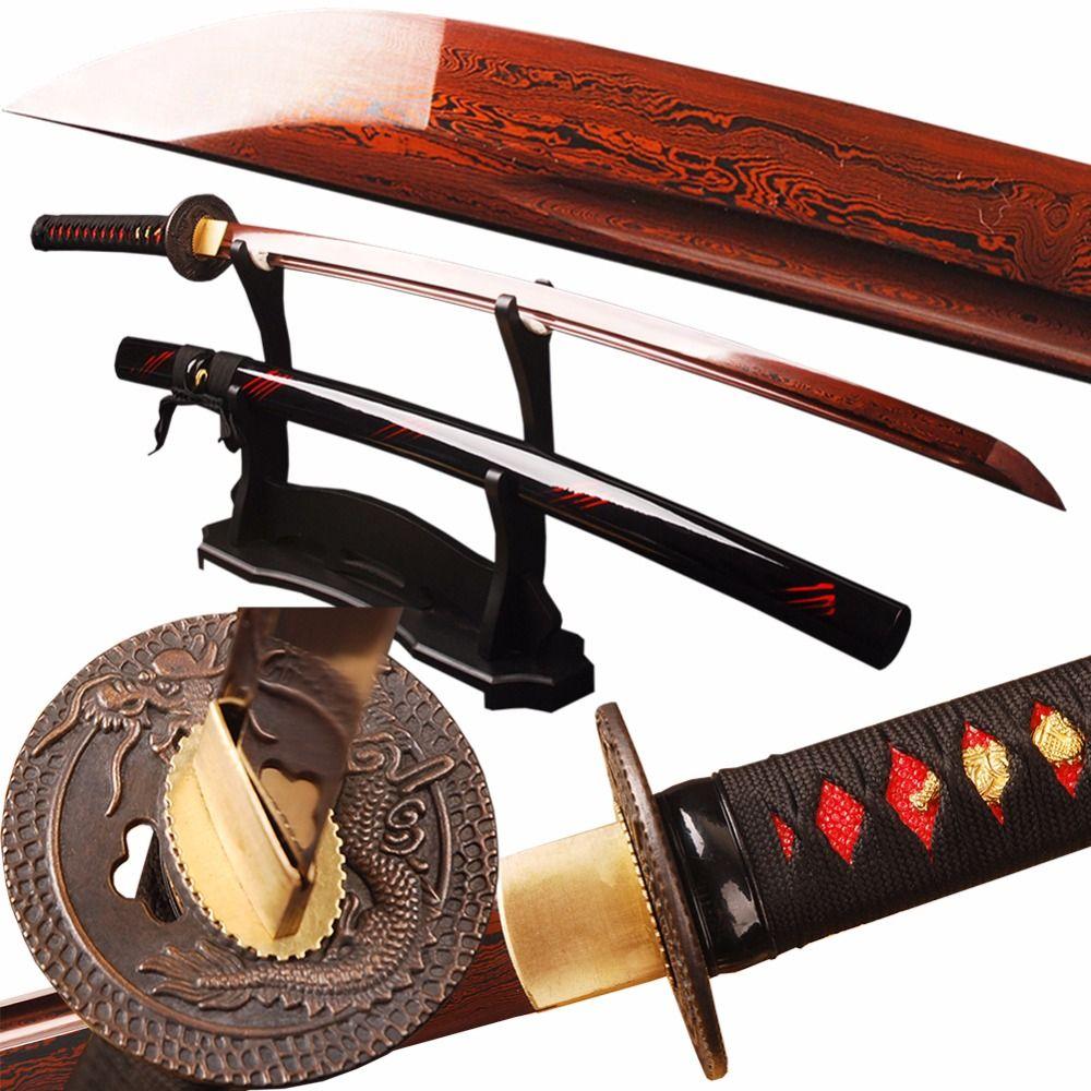 SJ Samurai Sword Red Damascus Foled Steel Blade Japanese Katana Sword Battle Ready Espada Practical Sharp Knife Samurai Cosplay