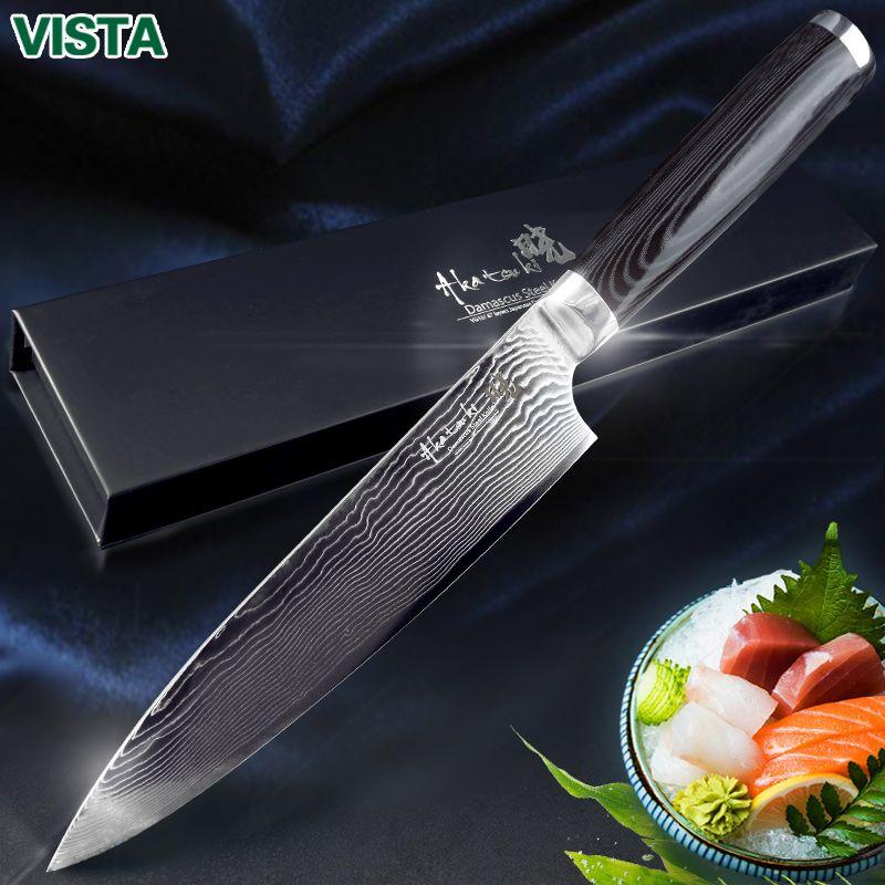 Damascus Knives 8 Chef Knife Japanese Kitchen Knife Damascus VG10 67 <font><b>Layer</b></font> Stainless Steel Knives Ultra Sharp Micarta Handle
