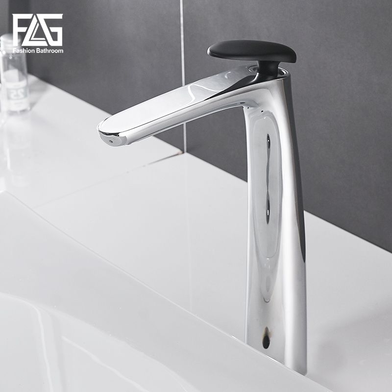 FLG Bathroom Faucet Chrome Finish Basin Faucet Single Handle Bathroom Sink Basin Mixer Tap Hot and Cold Water Taps