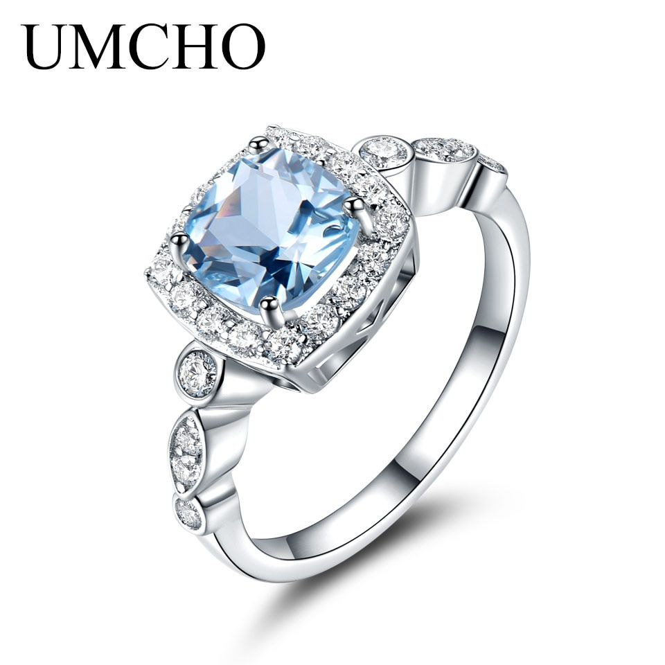 UMCHO Real S925 Sterling Silver Rings for Women Blue Topaz Ring Gemstone Aquamarine Cushion Romantic <font><b>Gift</b></font> Engagement Jewelry