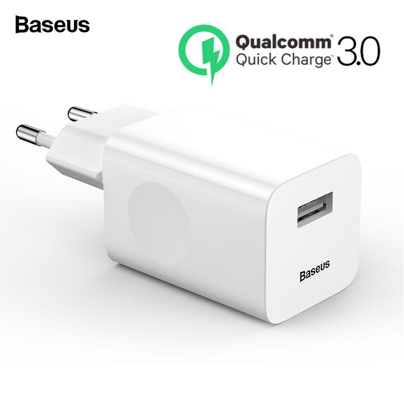 Chargeur USB 3.0 Baseus 24 W chargeur téléphone portable mural QC3.0 pour iPhone X Xiao mi mi 9 tablette iPad EU QC Charge rapide