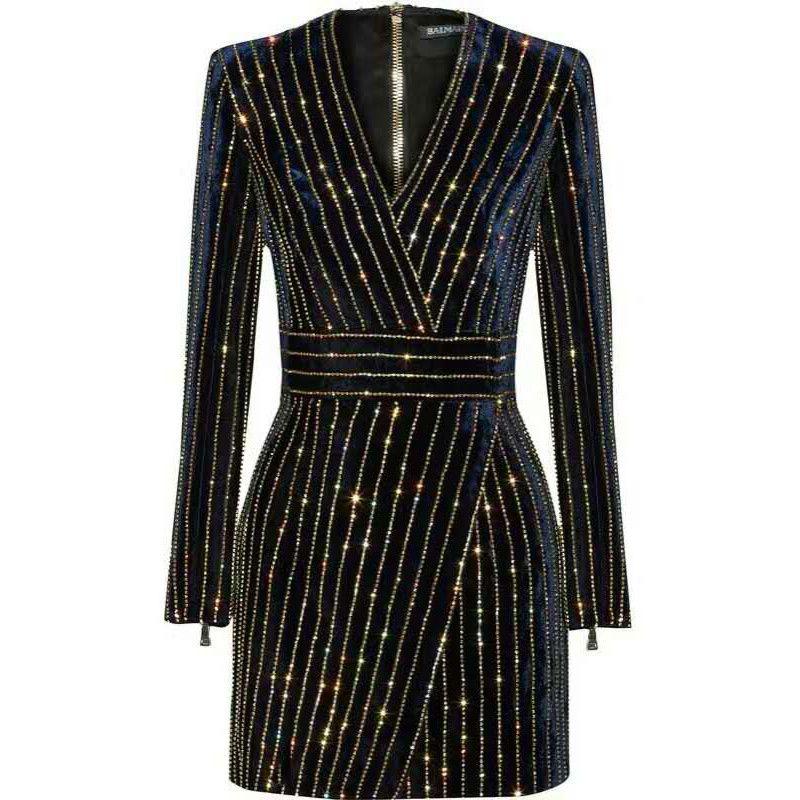 HAGEOFLY Femmes Bling Bling Manches Longues Robe Noir V-Neck Pleine Manches Femmes Casual Bureau Robe Partie Robe Brésil Robes XXL