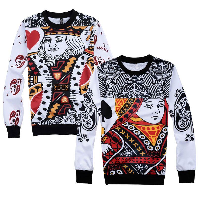 2018 New Fashion Men Women Couple Sweatshirts Cool 3D Print Funny Poker KING QUEEN Pullover Black Heart Q Hip Hop Unisex Hoodie