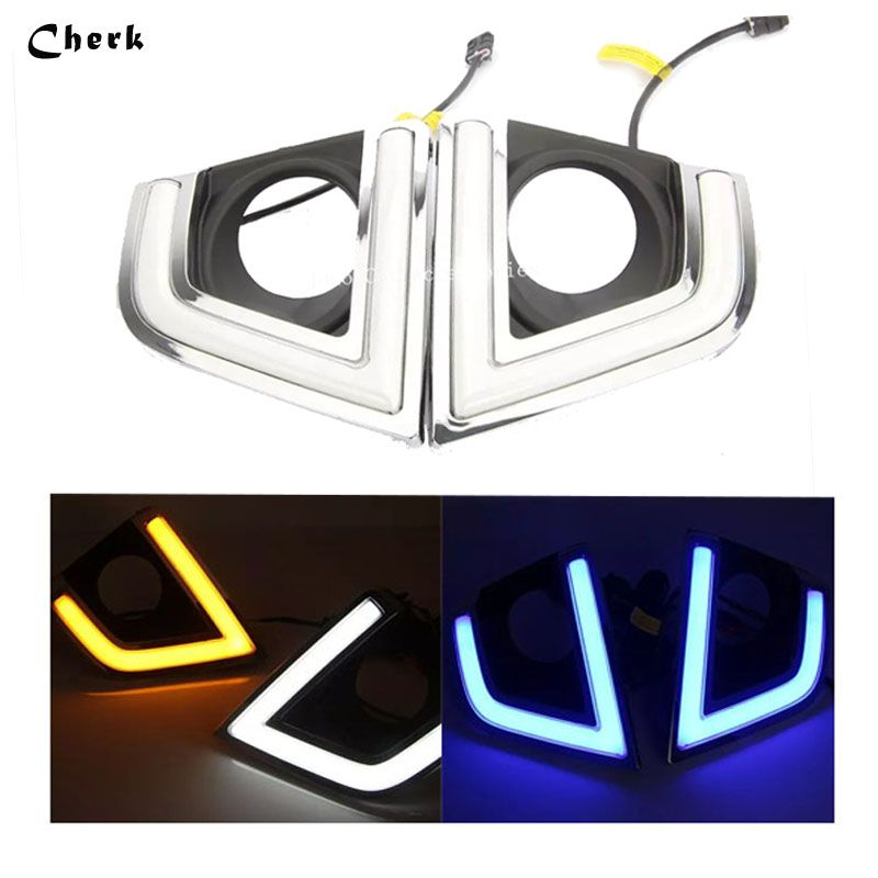 Day Light For Toyota Corolla 2014 2015 2016 LED DRL Daytime Running Light White+Yellow/Bule Turning Singal Waterproof Fog Lamp