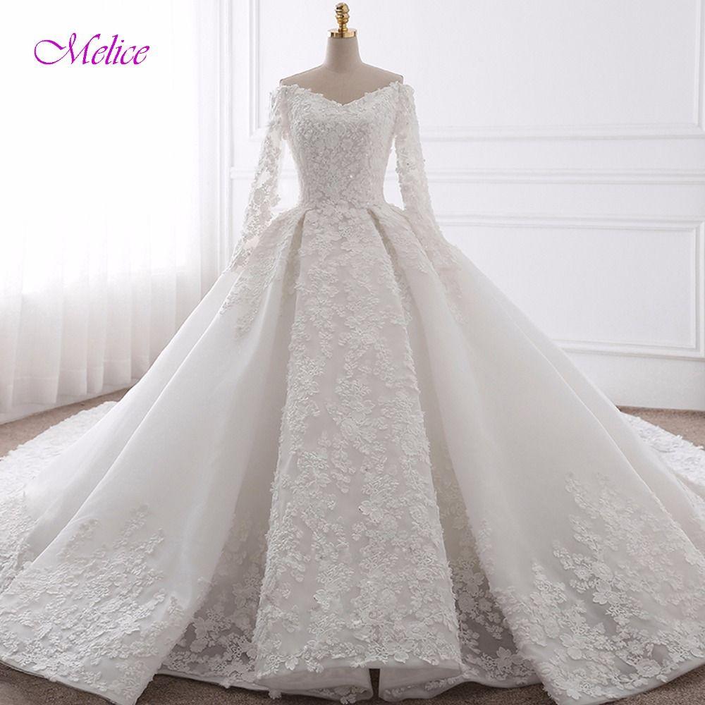 Glamorous Appliques Chapel Train Ball Gown Wedding Dress 2018 Fashion Sweetheart Neck Long Sleeve Bridal Dress Vestido de Noiva