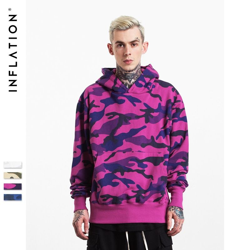 INFLATION hiver nouvelle Collection hommes Hoodies épais velours tissus Streetwear Hip Hop Camouflage hiver Hoodies 152W17
