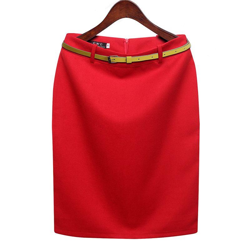 CWLSP S-3XL Plus Size Winter <font><b>Autumn</b></font> Wool Pencil Skirt Women's Formal OL Wear to work Medium-Length High Waist Skirt with Belt