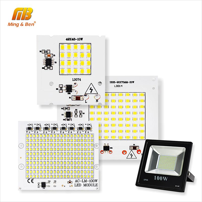 [MingBen] LED Lamps SMD 2835 Chip Beads Smart IC 220V Input 10W 20W 30W 50W 90W DIY For Outdoor FloodLight Cold White Warm White