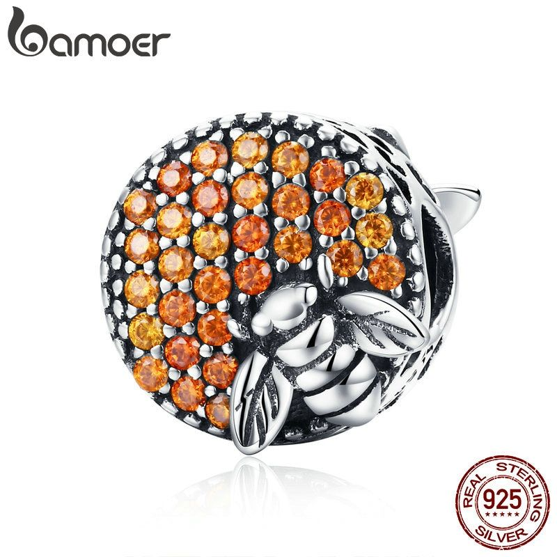 BAMOER Hot Sale 100% 925 Sterling Silver Bee Honeycomb Home Crystal CZ <font><b>Charm</b></font> Beads fit <font><b>Charm</b></font> Bracelet DIY Jewelry Making SCC654