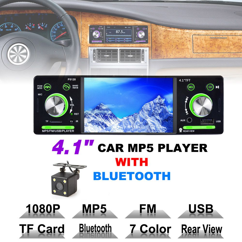 4.1 pouce 1 Din HD Bluetooth De Voiture Stéréo Radio Auto MP3 MP5 Audio Player Support USB FM TF AUX + de sauvegarde Inverse Caméra de Recul
