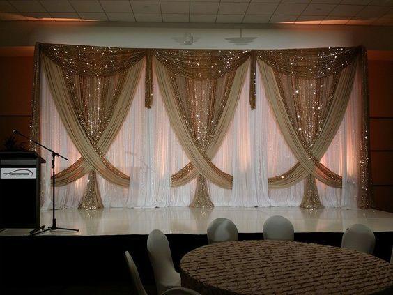 3 mt * 6 mt Luxus Hochzeit Hintergrund mit Glänzenden Gold Swag Hochzeit drapieren und vorhang hochzeit dekoration