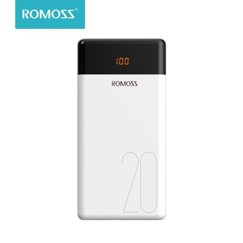 20000mAh ROMOSS LT20 batterie externe double USB batterie externe avec affichage LED chargeur Portable rapide pour téléphones tablette Xiaomi