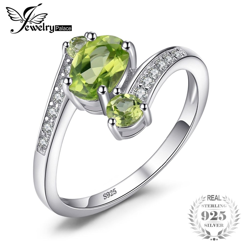 JewelryPalace 3 Stones Natural Peridot Ring Gemstone Solid 925 Sterling Silver Women Hot Fabulous Vintage <font><b>Charm</b></font> Fine Jewelry