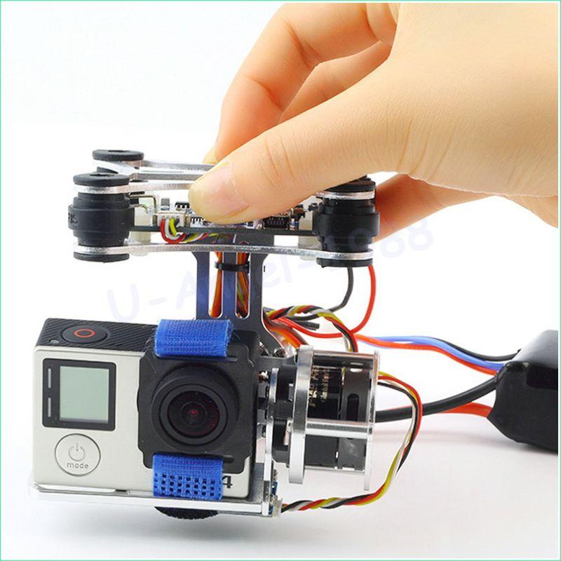 Wholesale <font><b>1pcs</b></font> Super Light Brushless Gimbal Camera Frame + 2 Motors +Controller 160G For Phantom Gopro 3 4