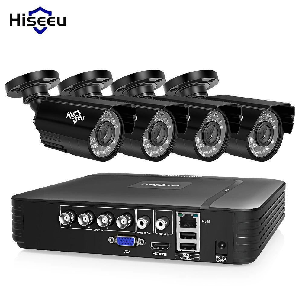 Hiseeu CCTV camera System 4CH 720P/1080P AHD security Camera DVR Kit CCTV <font><b>waterproof</b></font> Outdoor home Video Surveillance System HDD