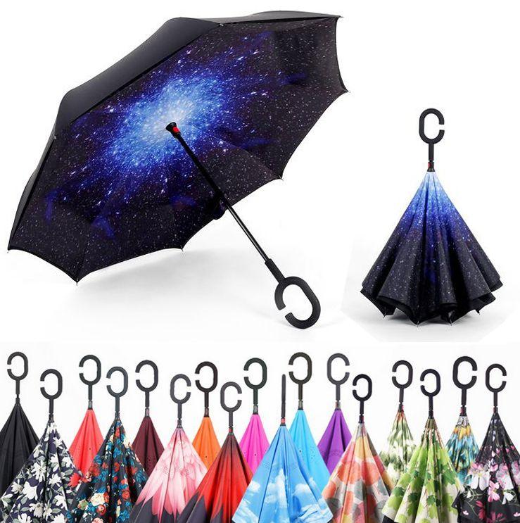 Coupe-vent Inverse Pliage Double Couche Parapluie Inversé Auto Stand pluie/soleil femmes/hommes haute qualité 2017 Enfant dropshipping