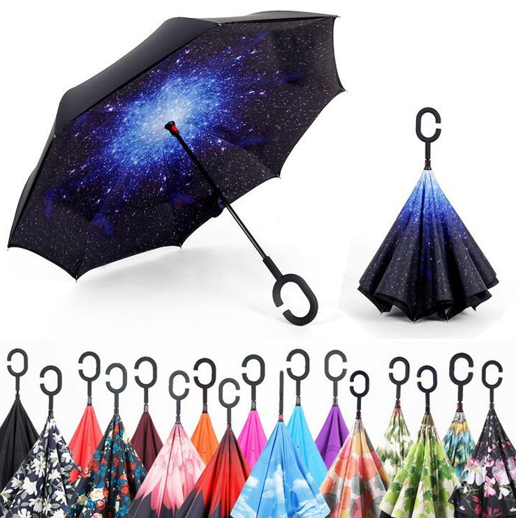 Windproof Reverse <font><b>Folding</b></font> Double Layer Inverted Umbrella Self Stand rain/sun women/men high quality 2017 Child dropshipping