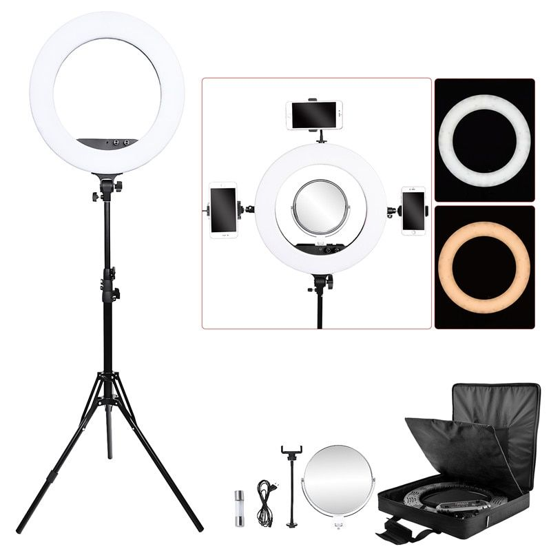 fosoto FT-R480 photographic lighting 3200-5800K 48W 480 Leds Ring Light Lamp& Tripod Stand Mirror For Camera Phone Photo Studio