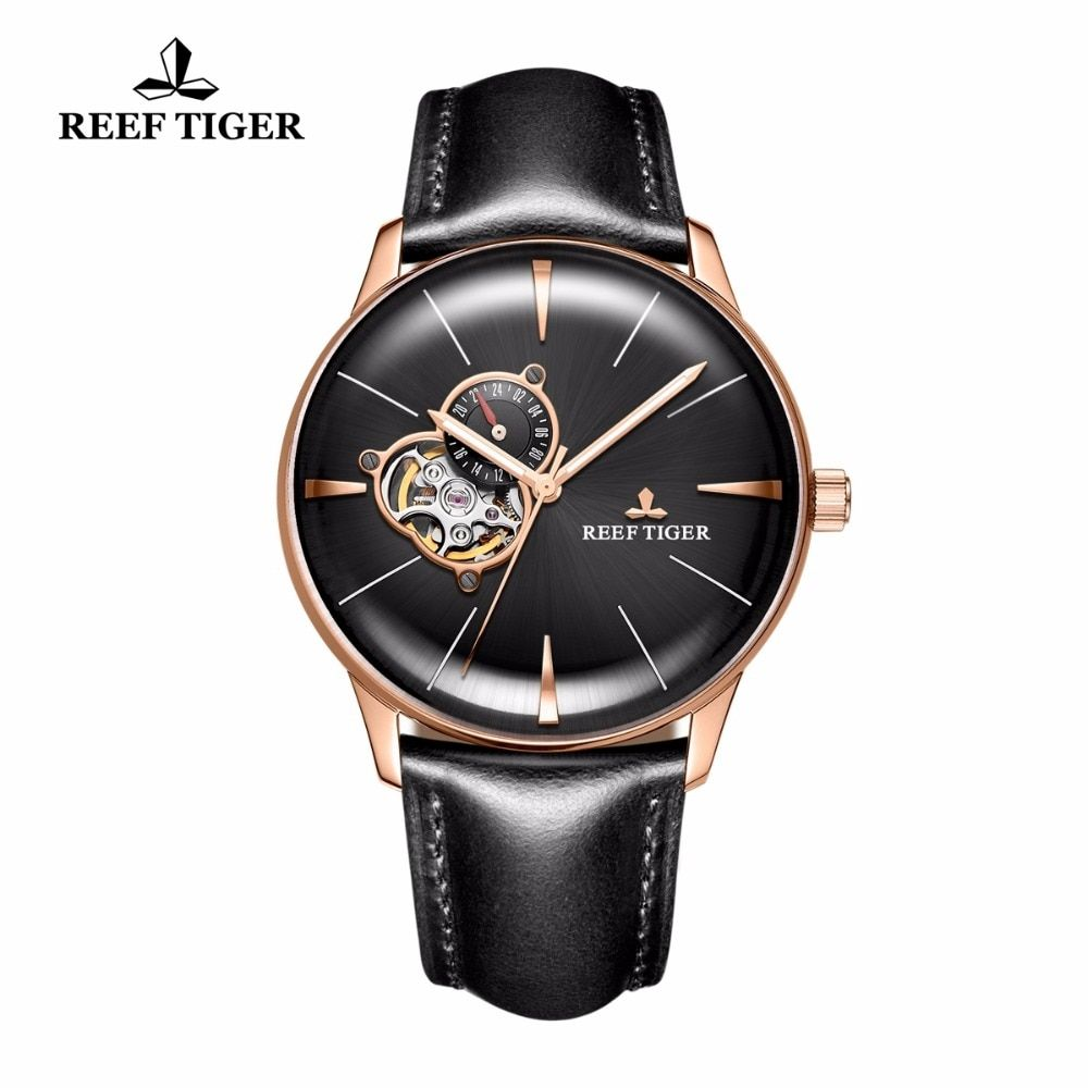 New Reef Tiger/RT Men's Automatic Watches Tourbillon Convex Lens Watches Luxury Rose Gold Watches Leather Strap RGA8239