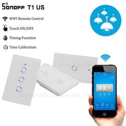 Sonoff T1 US Smart Wifi Wall Light Switch 1 2 3 Gang Touch/WiFi/315 RF/APP Remote Smart Home Wall Touch Switch Works with Alexa