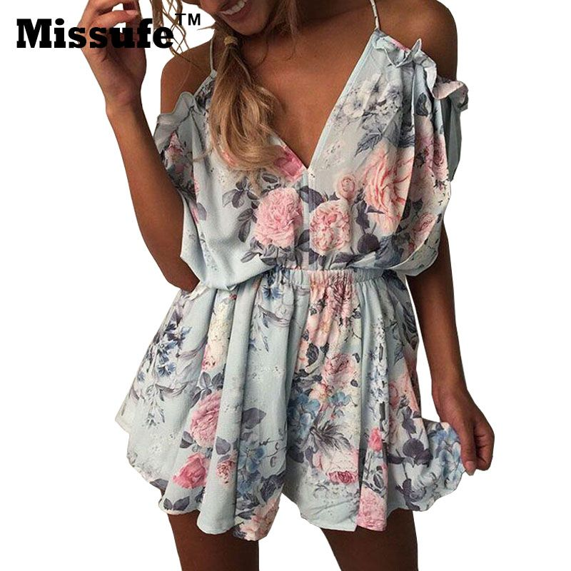 Missufe Floral Printed Playsuits Off Shoulder Overalls Femme Jumpsuit 2017 Casual Deep V Neck Backless Ruffles Women's Bodysuits